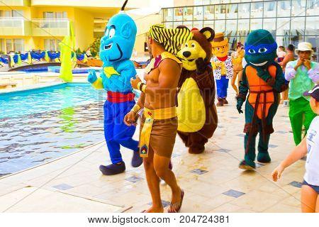 Sharm el Sheikh -April 12, 2017: Tourists doing the Egyptian Carnival - animation game at Barcelo Tiran Sharm Hotel 5 at Sharm el Sheikh on April 12, 2017