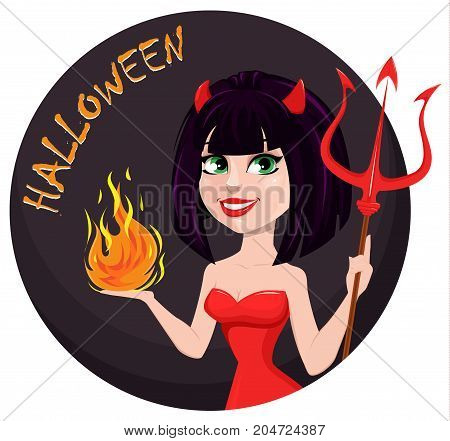 Devil girl for Halloween. Sexy she-devil with trident in one hand and flame in another. Horned cartoon character for holiday greeting card or invitation. Vector illustration.
