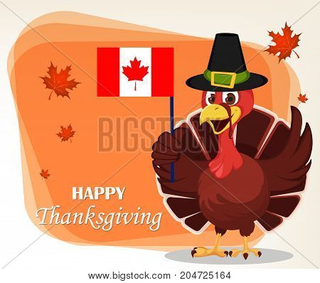 Thanksgiving greeting card with a turkey bird wearing a Pilgrim hat and holding Canadian flag. Funny cartoon character for holiday. Vector illustration with maple leaves on background.
