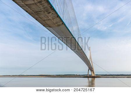 Pont de Normandie over river Seine in France longest rope bridge of Europe