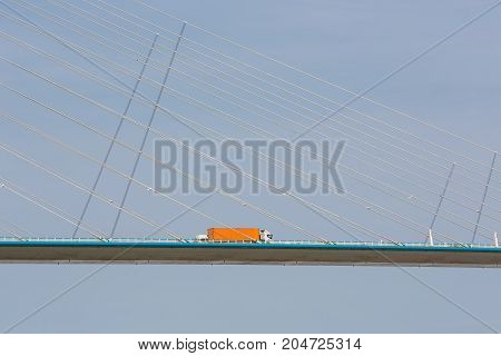 Truck driving at Pont de Normandie over river Seine in France