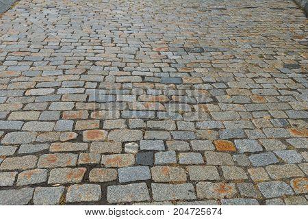 Old rough cobblestone street Warwick Rhode Island