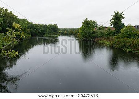 Trees lining the Pawtuxet River Warwick Rhode Island