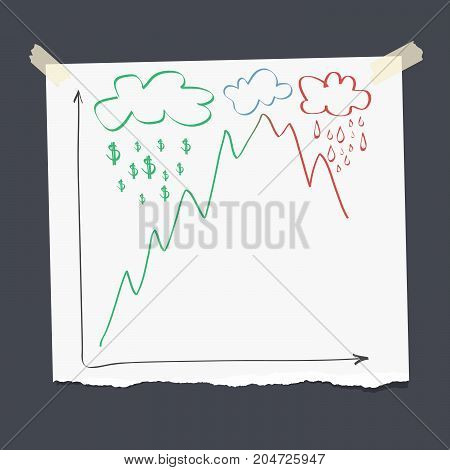 Bull and bear market chart conception on ripped note paper, vector illustration
