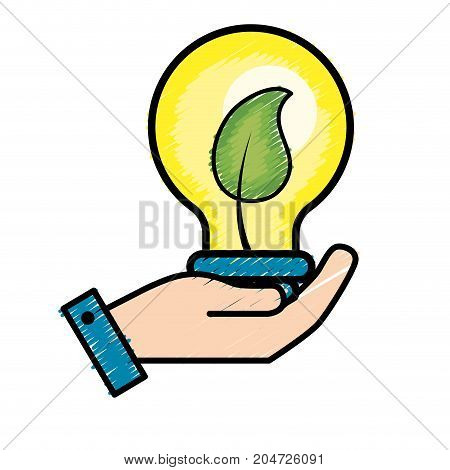 hand with bulb with leaf inside vector illustration