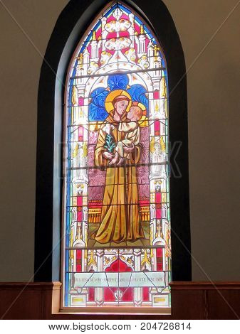 Thornhill, Canada - September 16, 2017: Stained glass of Ukrainian Catholic Church of Saint Volodymyr.