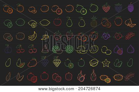 Outline color linear web icon set - Fruit berries Thin bold Line food Icons For logo label Orange grape cranberry apple blueberry lime lemon pomelo cherry peach fig mango tropic collection on black