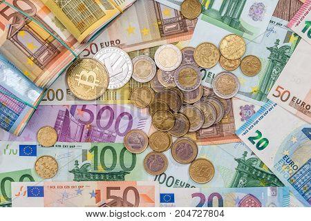 Bitcoin, Litecoin, Euro Coin And Bills, Money Concept