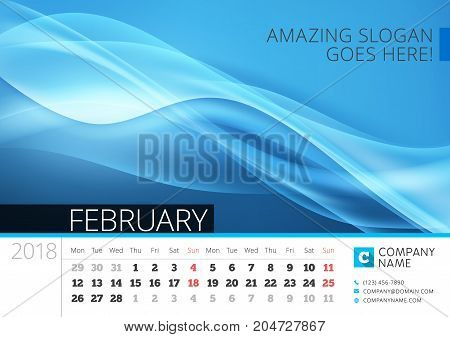Desk Line Calendar For 2018 Year. February. Vector Design Print Template With Abstract Background. W