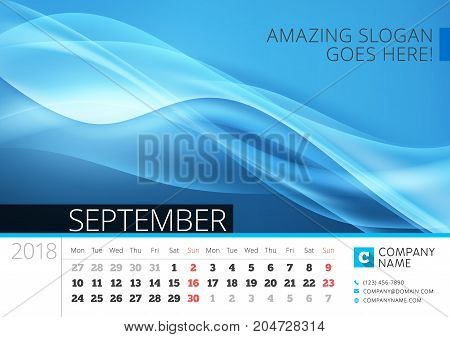 Desk Line Calendar For 2018 Year. September. Vector Design Print Template With Abstract Background.