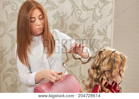 Female hairdresser working, little girl. Hairstylist and child.