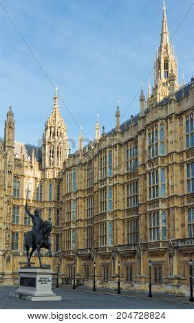 A statue of King Richard I , also known as Richard the Lionheart outisde the Houses of Parliament in London, United Kingdom.