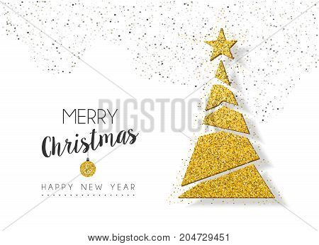 Christmas New Year Gold Glitter Holiday Pine Tree