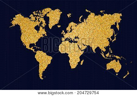 World Map Gold Glitter Art Concept Illustration