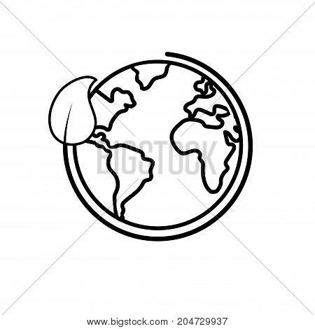 line earth planet with ecological leaf design vector illustration