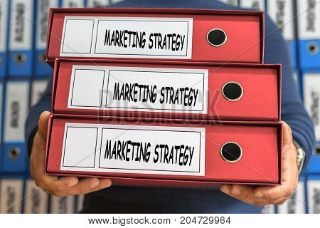 Marketing Strategy Concept Words. Folder Concept. Ring Binders.