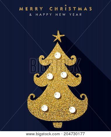 Christmas And New Year Gold Glitter Pine Tree Card