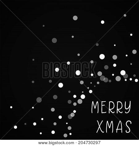 Merry Xmas Greeting Card. Falling White Dots Background. Falling White Dots On Black Background. Ama