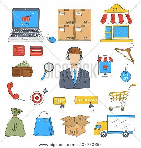E-commerce and online shopping hand drawn doodle icons set, vector illustration. Shopping, delivery and customer support symbols, laptop, e-shop, shopping cart, package, isolated on white