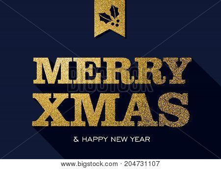 Christmas And New Year Gold Glitter Message Quote