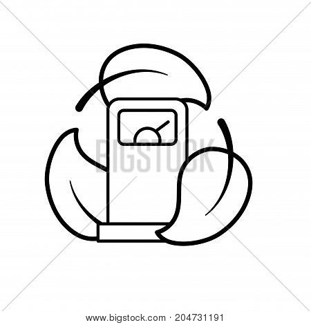 line gas machine with ecological leaves around vector illustration