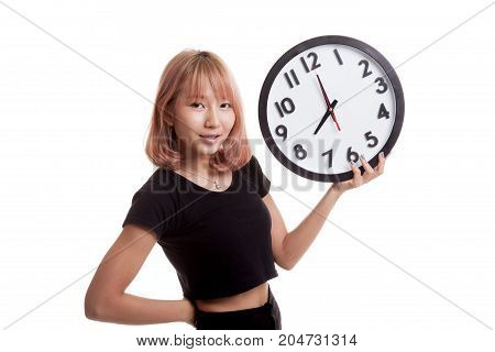 Young Asian Woman With A Clock.