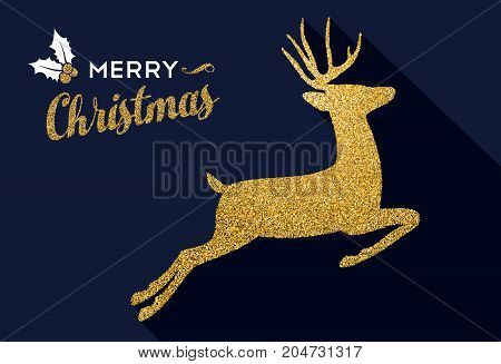 Christmas Gold Glitter Holiday Deer Animal Card