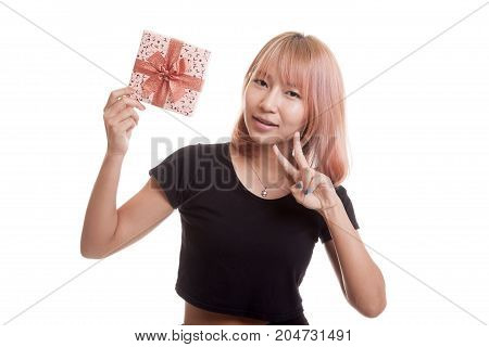 Asian Woman Show Victory Sign With A Gift Box.