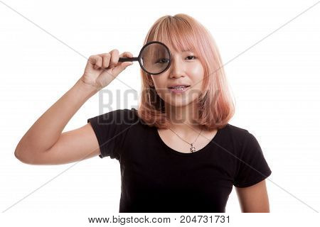 Young Asian Woman With A Magnifying Glass.