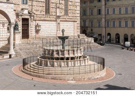 The Fontana Maggiore a monumental medieval fountain the main landmark of Perugia - Umbria Italy.