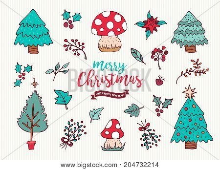 Christmas New Year Cute Holiday Cartoon Collection