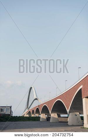 New Build Bridge In Old Industrial Area. Nijmegen, Netherlands.