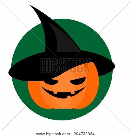 Spooky halloween pumpkin in wizard hat. Background icon design element for invitations and party