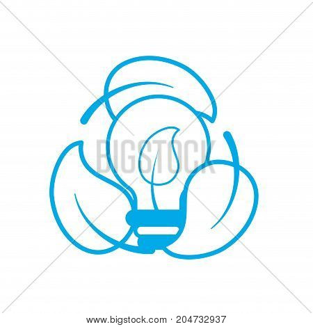 silhouette nice bulb with leaf inside and leaves around vector illustration