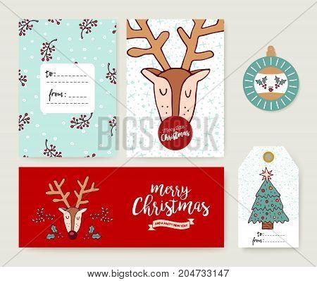 Christmas Card Template Holiday Deer Cartoon Set