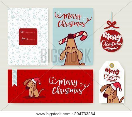 Christmas Holiday Greeting Card Dog Cartoon Set