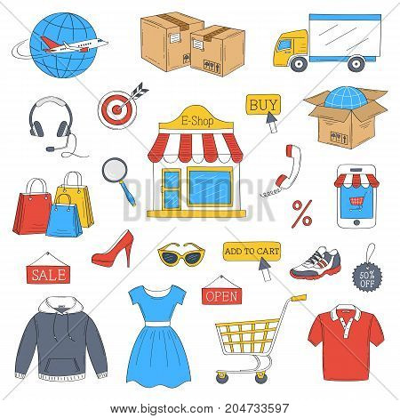 Online shopping hand drawn doodle icons set, vector illustration. Shopping, delivery and customer support symbols, mobile phone, headphone, e-shop, shopping cart, package, clothing, isolated on white.
