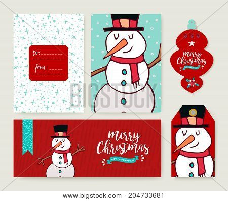 Christmas Card Template Holiday Snowman Doodle Set