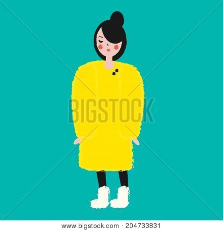 Fashionable female in yellow winter coat. Girl in trendy clothes artistic hand drawn style vector illustration