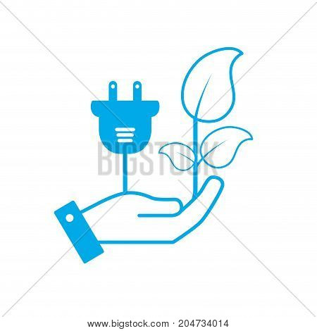 silhouette hand with ecology power cable with natural leaves vector illustration