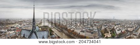 Panoramic view to Seine river, Ile de la Cite and Latin Quarter from Notre-Dame de Paris tower. Top of Notre-Dame de Paris in a gothic style. Paris. France