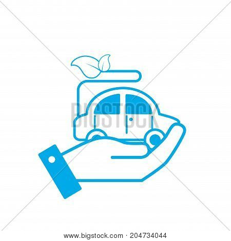 silhouette hand with ecologycal car with leaves to environment care vector illustration