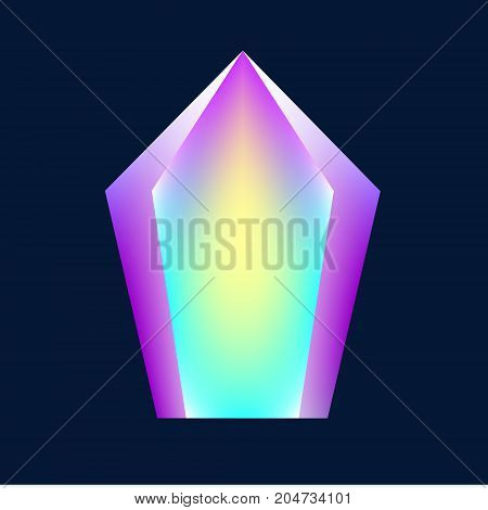 Magic glowing crystal. Vector illustration holographic element