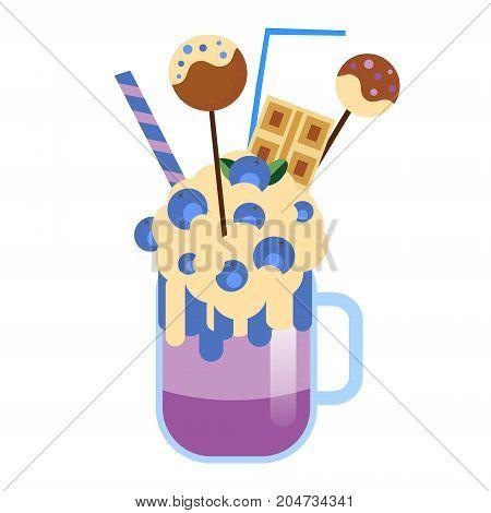 Monster shake with cake pops and blueberries. Giant milkshake. Vector icon