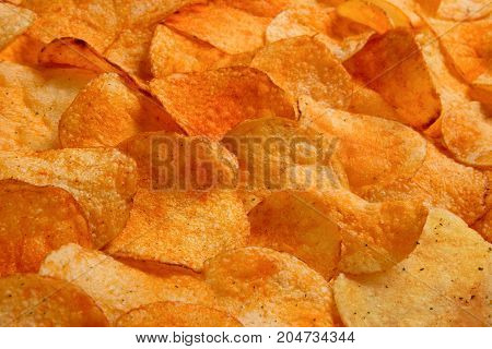 Golden Chips Potato Texture. Food Background Of Delicious Chips