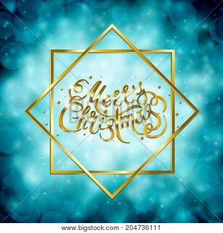 Golden text on blue background. Merry Christmas and Happy New Year lettering for invitation and greeting card, prints and posters. Hand drawn inscription, calligraphic design. Vector illustration