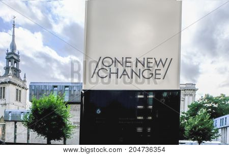 London UK - August 3 2017: One New Change sign outside the shopping mall. A daytime shot of the signage.
