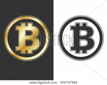 Bitcoin symbols set. Crypto currency golden and black sings isolated on black and white backgrounds. Vector illustration.
