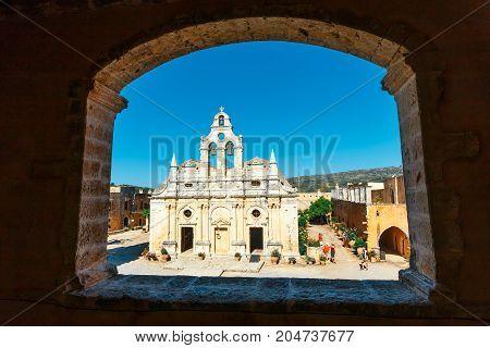 Arkadi, Crete, June 10, 2017: Passageway In The West Gate At The Arkadi Monastery, Arkadi, Crete, Gr