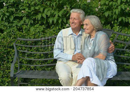 portrait of beautiful caucasian senior couple sitting on bench